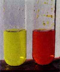Chromate (yellow) and potassium bichromate (red)